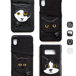 BC18|cat face leather case